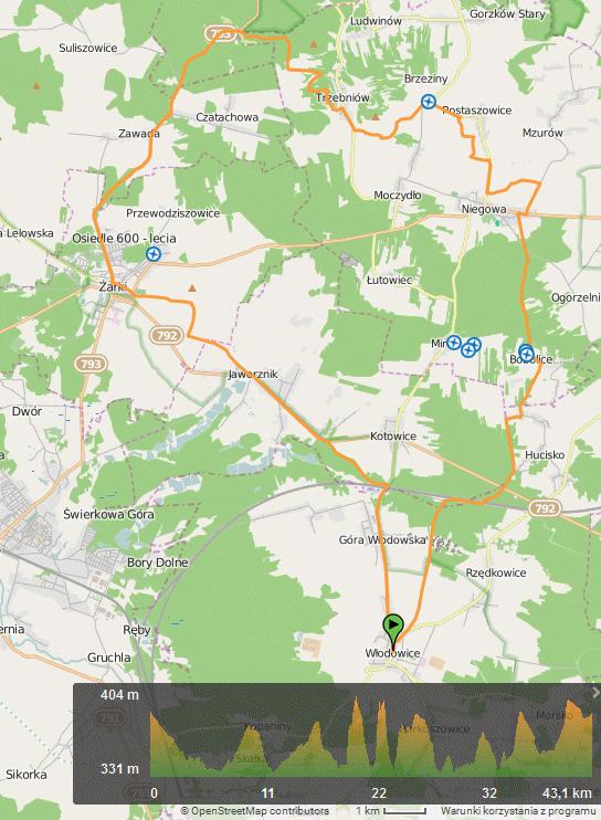Mapa wycieczki z Włodowic do Ostrężnika, Trzebniowa i Niegowej