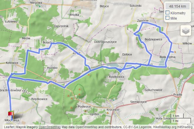 Mapa wycieczki obrzeżami Rowu Białki Zdowskiej