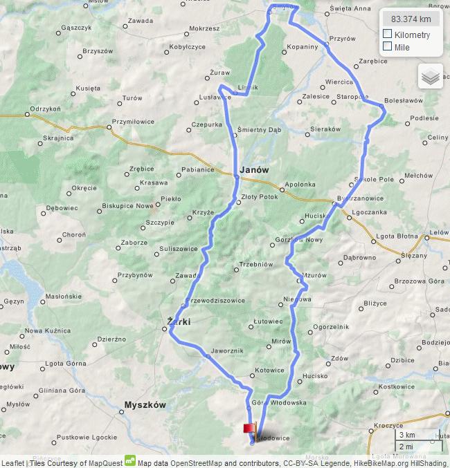 Do Smykowa nad Wiercicą - schematyczna mapka wycieczki