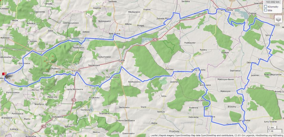Mapa wycieczki Dolinami Białki Zdowskiej, Krztyni, Górnej Pilicy i Żebrówki
