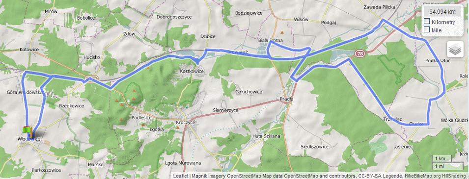 Mapa wycieczki Dorzecze Krztyni