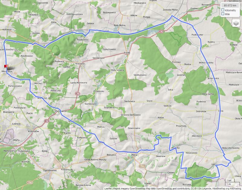 Listopadowa Jura i Próg Lelowski, mapka wycieczki