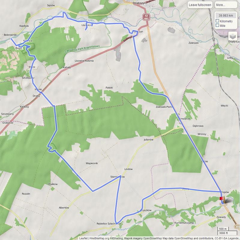 Mapa wycieczki między Liswartą a Wartą